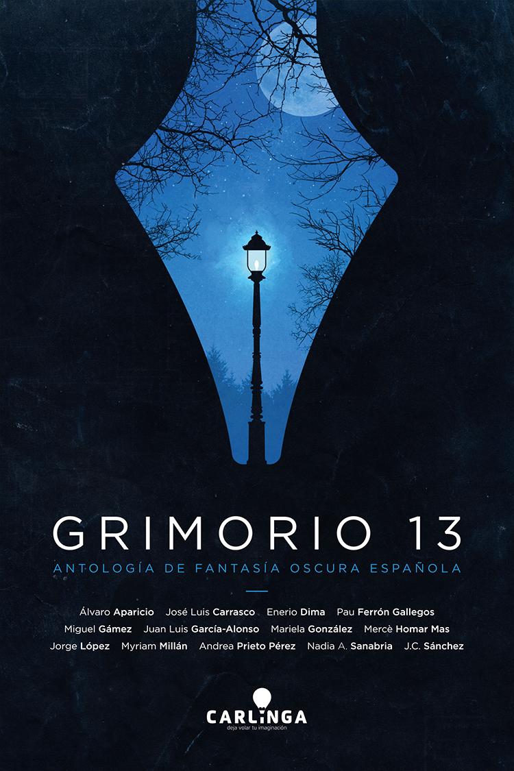 Diseño de portada de libro Grimorio 13 - Antología de Fantasía Oscura Española