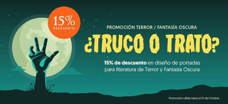 Promoción 15% descuento para diseño de portadas e ilustración de literatura de Terror y Fantasía Oscura.