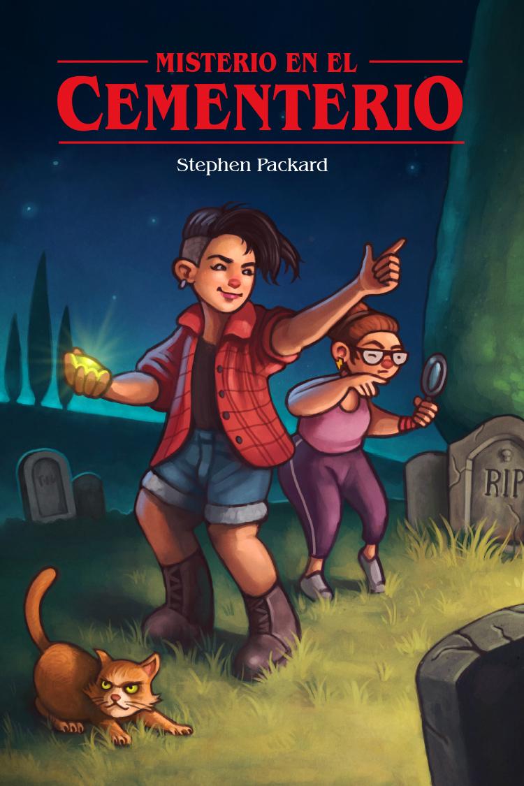 Diseño de portada ilustrada para novela de misterio juvenil «Misterio en el Cementario»