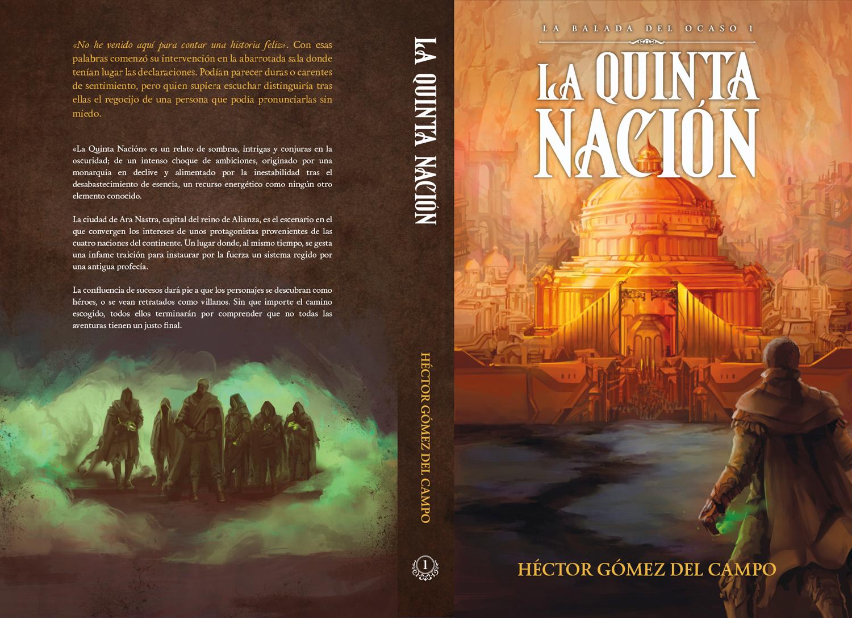 Diseño de portada y contraportada para novela de fantasía «La Quinta Nación»