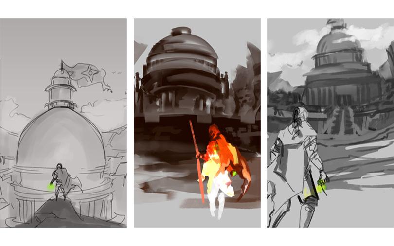 Bocetos iniciales para diseño de portada ilustrada