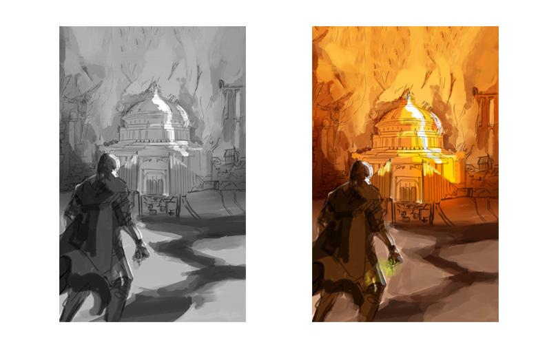 Bocetos a color y blanco y negro para ilustración de portada